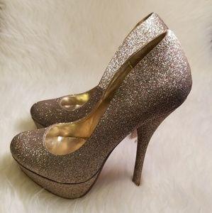 Forever 21 Shoes - Forever 21 Sparkly Gold Platform Heels